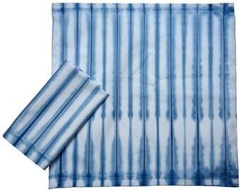 Two large cotton indigo shibori napkins