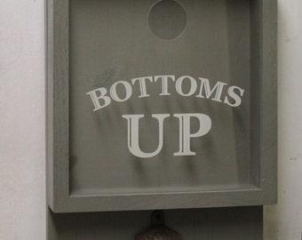 Bottom's Up/Bottle Cap Holder/Bottle Opener/Beer Decor/Bar Decor/Christmas Gift/Male Gift/Engraved/Fast Shipping/Bar Gift/Beer/Father's Day