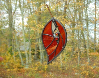 Stained glass leaf suncatcher, Autumn orange hanging leaf window decoration, home decor glass art, abstract colorful modern large leaf