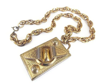 Vintage Gold Modernist Locket Necklace - Gold Tone, Embossed, Geometric Locket, Vintage Locket, Vintage Necklace, Large Locket