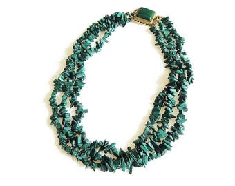 Malachite Necklace, Nuggets Chips, Emerald Green, Multi Strand Necklace, Gold Filled, Vintage Necklace, Vintage Jewelry