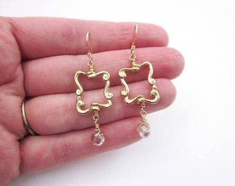 Square & Bead Earrings -- Frame Dangle Earrings -- Gold Frame Earrings -- Gold Square Dangle Earrings -- Window Earrings --Unique Gold Drops