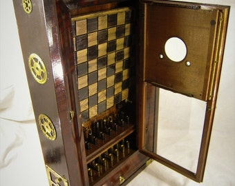 Late 1800's Antique Clock Case / Bullet Shell Steampunk Chess Set with Red Oak board- # 0820160005- Free Shipping to U.S.