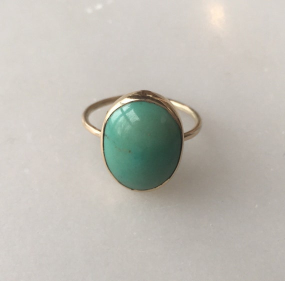 antique 14k gold and turquoise ring