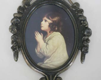 vintage victorian print in oval metal frame made in italy