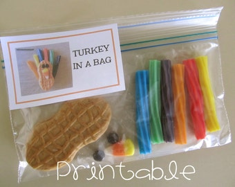 NEW- Printable- PDF- Turkey in a Bag tag - Thanksgiving Gift Idea- students, children, guests, place setting, activity