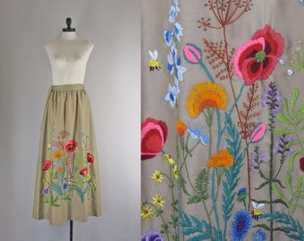 1970s Vintage Embroidered Maxi Skirt l 70s Floral Embroidered Skirt