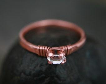 Crystal Dazzler Ring, ring size 6.25, Herkimer quartz crystal, raw rough stone-wire wrap-diamond alternative-bling, Lemurian Diamond, Bibi