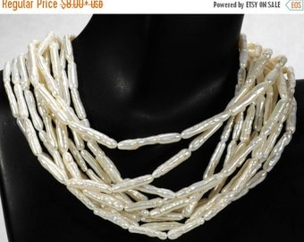 ON SALE White Stick Freshwater Pearls Center Drilled Lustrous Nacre Bridal Natural Freshwater Pearls - Choose Smaller or Larger Pearls