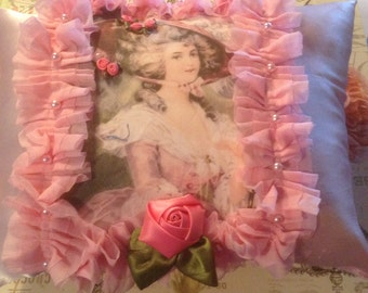 10 x 10 pillow with image of Victorian lady in pink