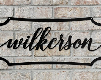 Personalized Outdoor Family Name Sign Made From Steel