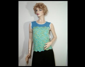 Hand knit soft wool cashmere pullover tank top sweater vest ~ Small ~ denim blue green gold wavy stitch ~ as new ~ great career work wear