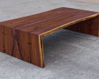 Live Edge Walnut Folded Bole Custom Sizes Live Edge Coffee Table