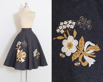 Vintage 50s Skirt | 1950s novelty print skirt | butterfly rhinestone floral wool felt | large | 5855