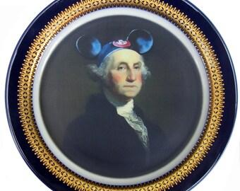 "Mouseketeer Washington Portrait Plate 10.25"""
