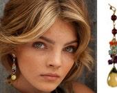 Gold Gemstone Cluster Earrings, gemstone earrings, gold earrings, cluster earrings, drop earrings, dangle earrings