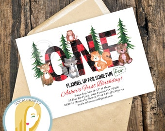 Woodland  Birthday Party Invitation, Woods Invitation, Woodland Invitation, Buffalo Plaid, Flannel Invite, Printable or Printed Invitations