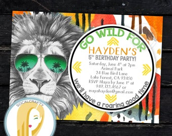 Lion Birthday Party Invitation, Lion Invitation, Safari Birthday Invitation, Wild Invitation, Zoo, DIY, Printed or Printable Invitations