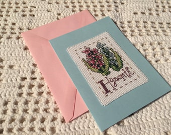 HYACINTH Blank greeting card Wildflower CROSS stitch Flower Alphabet