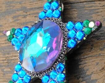 Earth Mother, swarovski, star, crystal, shimmering, blue, green, star necklace, pendant, magical, fantasy, sparkle, sunshine, ocean, unicorn