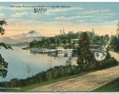 Lake Washington Boulevard Mt Rainier Seattle Washington 1910s postcard