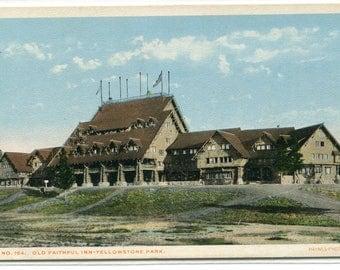 Old Faithful Inn Yellowstone National Park Wyoming 1920s postcard