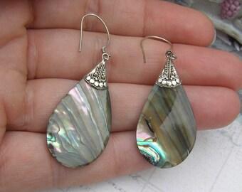Vintage Abalone Earrings, Sterling Silver Earrings, Summer Jewelry, Paua Shell Earrings, Artisan Crafted Earrings, Bohemian Jewelry