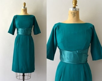 1950s Vintage Dress - 50s Teal Wool Wiggle Dress