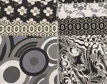 30 - 5 Inch Black, White and Gray Fabric Squares, Quilt Fabric, Charm Squares, Patchwork Squares, Quilt Making Kit,