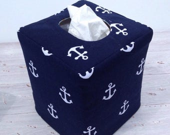 Navy and White Anchor reversible tissue box cover