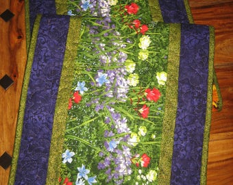 "Wildflower Quilted Table Runner, Purple Red Yellow Flowers, 14 x 47"", Wide Reversible, Handmade Free Shipping"