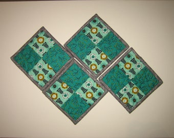 """Fabric Coasters, Teal Blue Tree Vine Contemporary, Reversible Drink Mats, 5x5"""""""