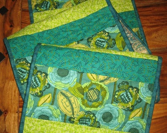"Abstract Contemporary Blue Green Flower Table Runner, 100% Cotton Fabrics, Reversible, 13.5 x 60"" Handmade Free Shipping"