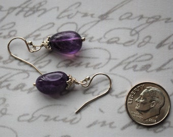 Sweet Amethyst Nuggets with Sterling Silver Earrings