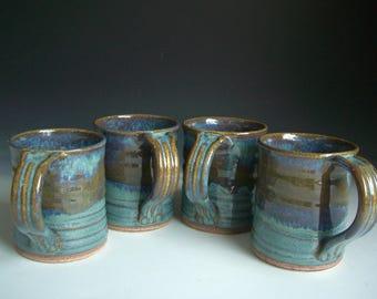 Hand thrown stoneware pottery mugs set of 4  (M-5)