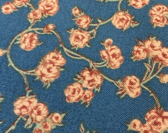 Quilting Vintage Fabric-Yardage-Country Blue Floral Quilting Fabric-Rosehill Manor by Robyn Pandolph for Moda-Quilters-Muted Blue Rose
