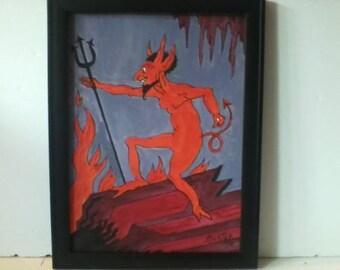 Vintage Devil and His Pitchfork Painting signed Richter 1978