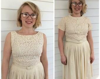 50s Dress Ivory Lace Bolero Summer Full Skirt Sleeveless Spring Vintage 1950s XS