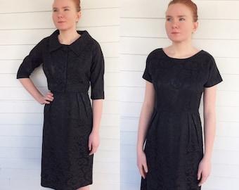 Vintage 60s Black Dress with Jacket Bolero 1960s 38 Bust M