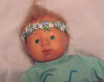 Reborn doll, girl, small, awake, genesis paint, mohair, her 1st reborn baby , Easter basket baby, cloth body cuddly