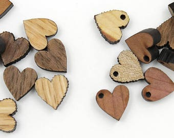 "Wooden Heart Beads - 12 pcs - Minis Itsies - 1/2"" - Wooden Heart Charms - With or Without Holes - by Timber Green Woods USA!"