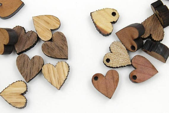 "Laser Cut Mini Wooden Heart Beads - Itsies - 1/2"" Heart Charms - With or Without Holes - by Timber Green Woods USA!"