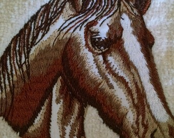 Embroidered Horse on Natural Colored Tea Towel