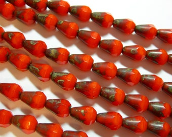 19 Orange Picasso Czech Glass Faceted Teardrop Beads 8x5mm