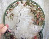 Windswept UNAKITE TREE of LIFE - Dreamcatcher in Olive Green and Peacock by FeatheredDreams1