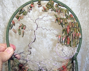 Windswept UNAKITE TREE of LIFE - Dreamcatcher in White by FeatheredDreams1