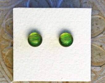 Dichroic Glass Earrings, Petite, Fern Green DGE-1003