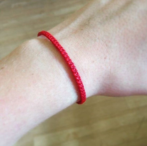 Classic Fair Trade Red Cotton Thai Buddhist Wristband Bracelet Handcrafted Wristwear