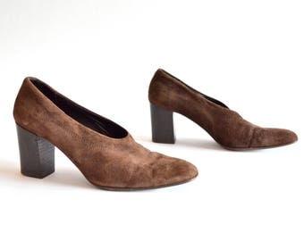 Vintage CALDERONE suede leather heels / 8.5