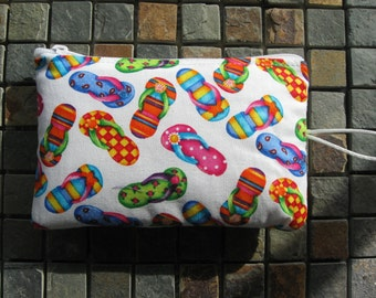 makeup jewelry bag in bright flip flop print